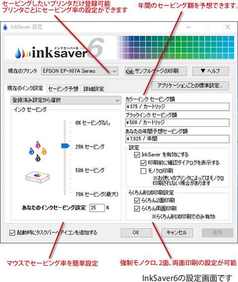 インクの濃度変更はもちろん、モノクロ印刷、2面印刷、両面印刷など、プリンタ毎に設定できます。年間のセービング額の予想も可能です。