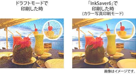 ドラフトモードで印刷したときとInkSaver6で印刷したときの画像イメージ