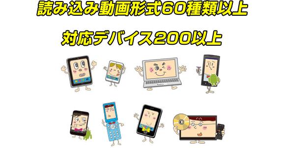 読込動画形式60種類以上、対応デバイス200以上