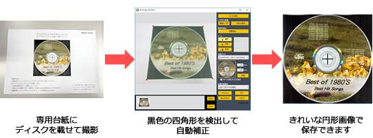 専用台紙を使って円形のディスクレーベルをスキャン