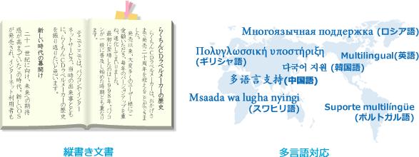 縦書き文書OK、多言語対応