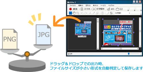 ドラッグ&ドロップでの出力時、ファイルサイズが小さい形式を自動判定して保存