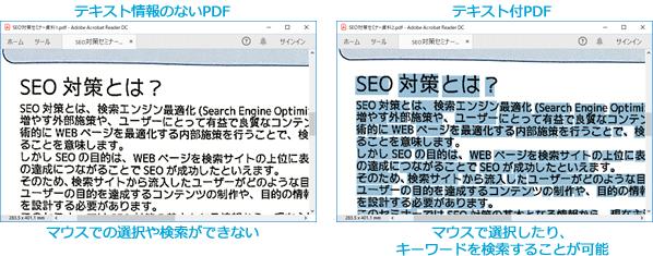 テキスト情報のないPDFとテキスト付きPDFの見本画像