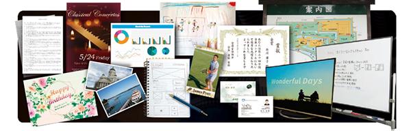 賞状やノート、パソコントップ画面やホワイトボードなどスキャンできるものの例