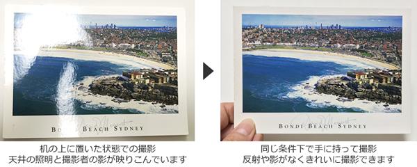 手に持って撮影し、反射や影がなくきれいに撮影できている例